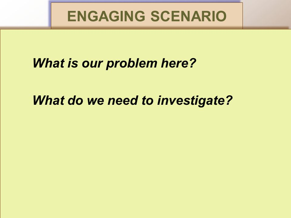 ENGAGING SCENARIO What is our problem here. What do we need to investigate.