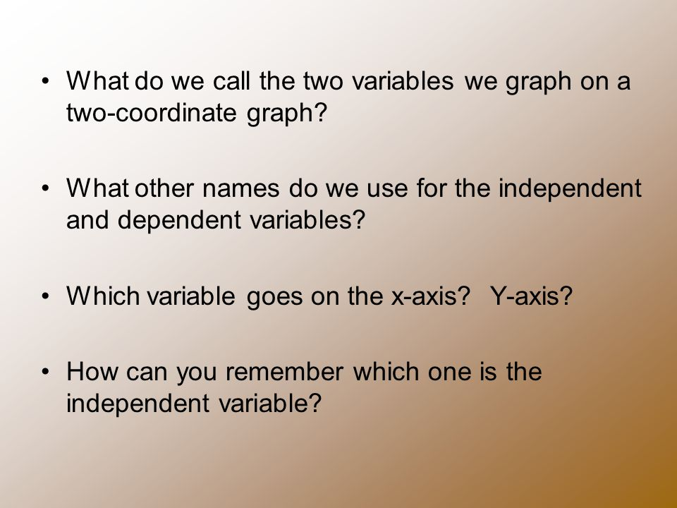 What do we call the two variables we graph on a two-coordinate graph.