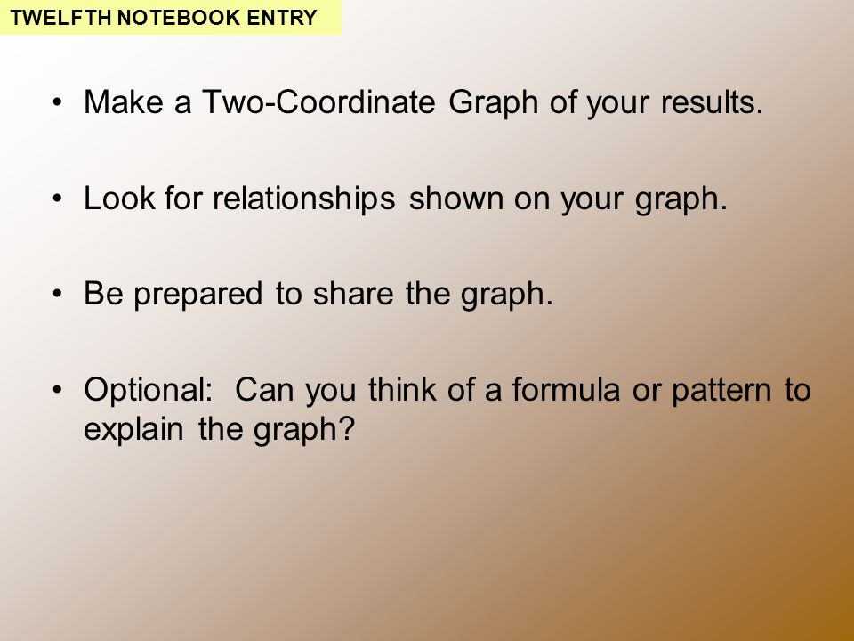 Make a Two-Coordinate Graph of your results. Look for relationships shown on your graph.