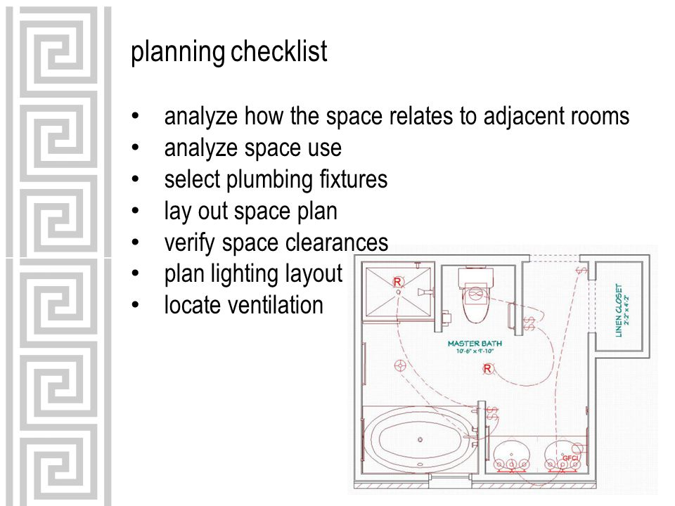 planning checklist analyze how the space relates to adjacent rooms analyze space use select plumbing fixtures lay out space plan verify space clearances plan lighting layout locate ventilation