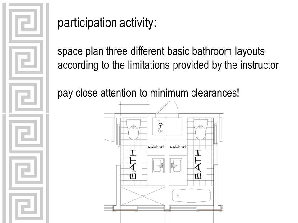 participation activity: space plan three different basic bathroom layouts according to the limitations provided by the instructor pay close attention to minimum clearances!
