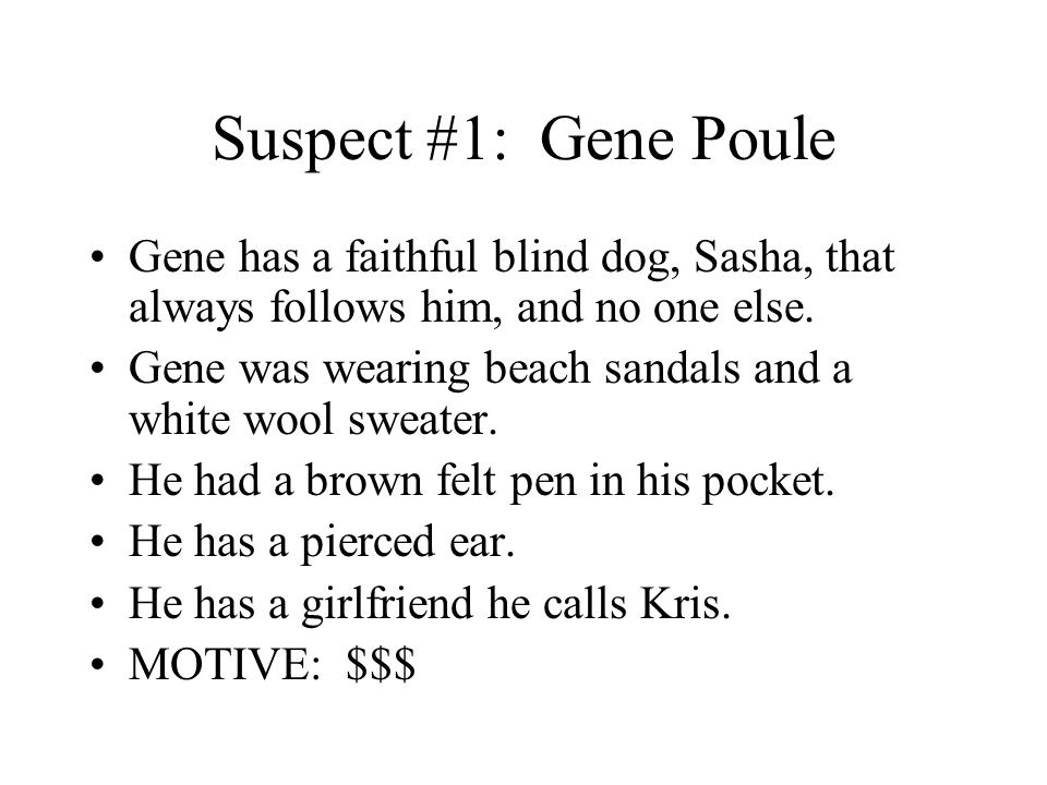 Suspect #1: Gene Poule Gene has a faithful blind dog, Sasha, that always follows him, and no one else. Gene was wearing beach sandals and a white wool