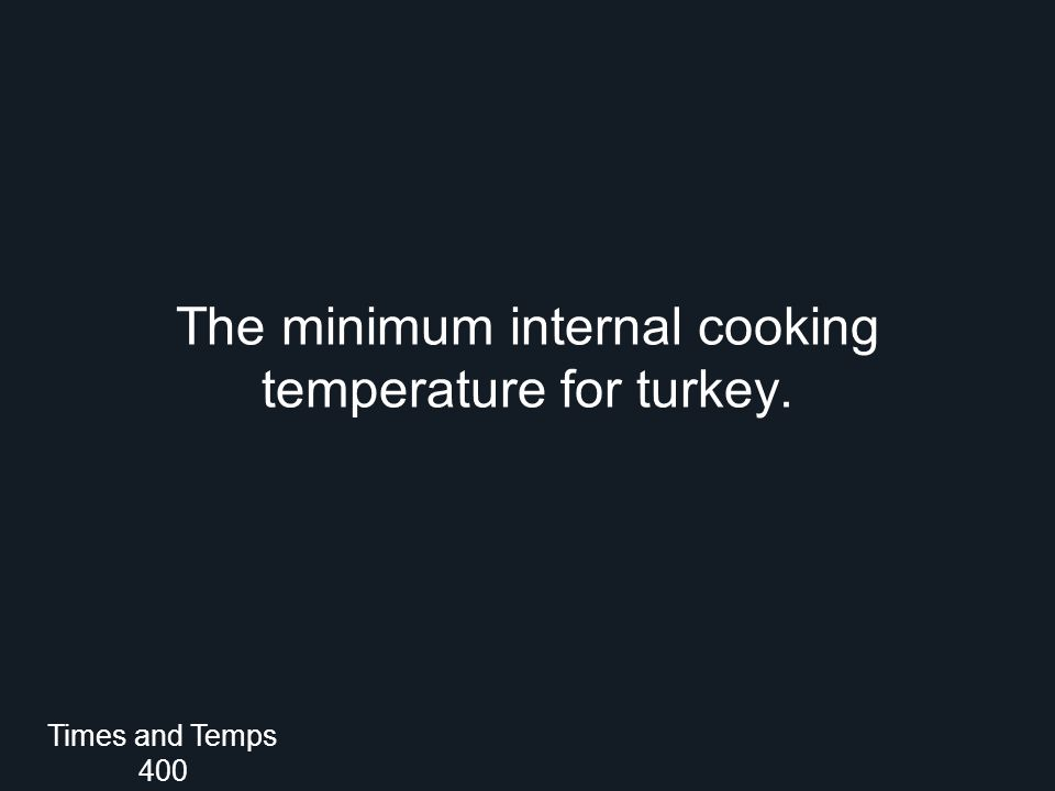 The minimum internal cooking temperature for turkey. Times and Temps 400