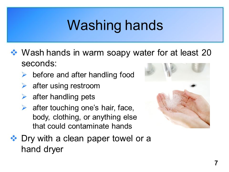 7 Washing hands  Wash hands in warm soapy water for at least 20 seconds:  before and after handling food  after using restroom  after handling pet
