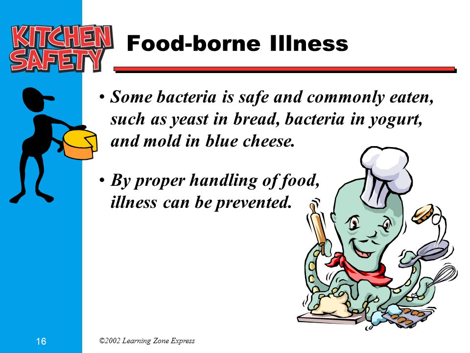 ©2002 Learning Zone Express 16 Food-borne Illness Some bacteria is safe and commonly eaten, such as yeast in bread, bacteria in yogurt, and mold in blue cheese.