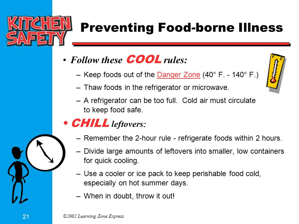 ©2002 Learning Zone Express 21 Preventing Food-borne Illness Follow these COOL rules: –Keep foods out of the Danger Zone (40° F. - 140° F.) –Thaw food