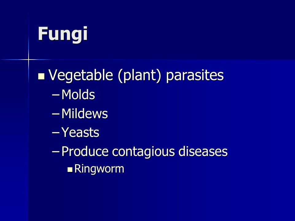Fungi Vegetable (plant) parasites Vegetable (plant) parasites –Molds –Mildews –Yeasts –Produce contagious diseases Ringworm Ringworm
