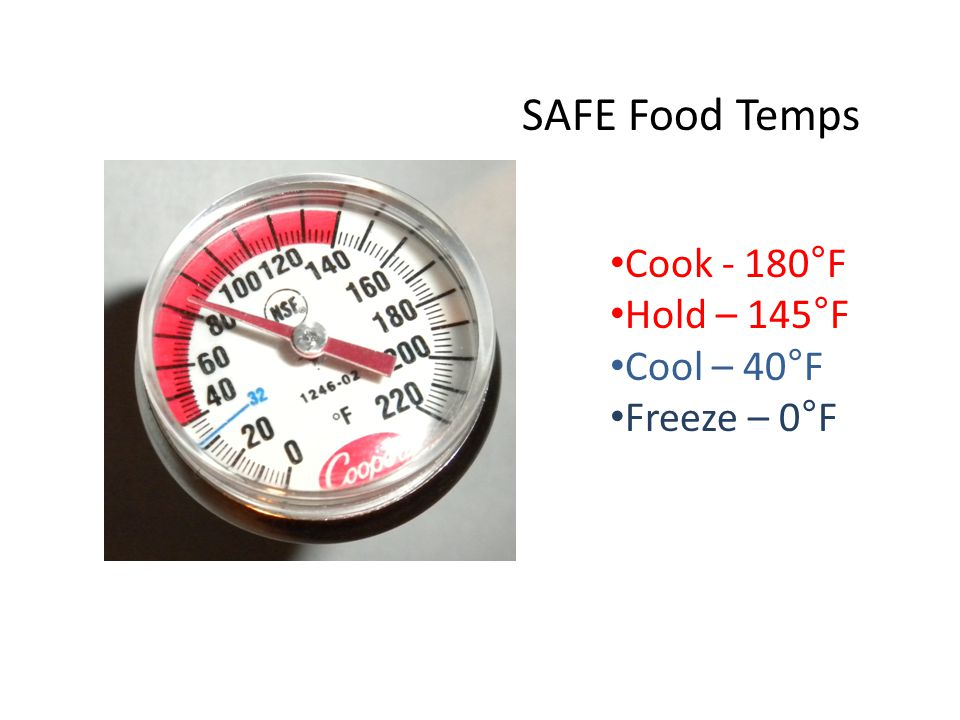 SAFE Food Temps Cook - 180°F Hold – 145°F Cool – 40°F Freeze – 0°F