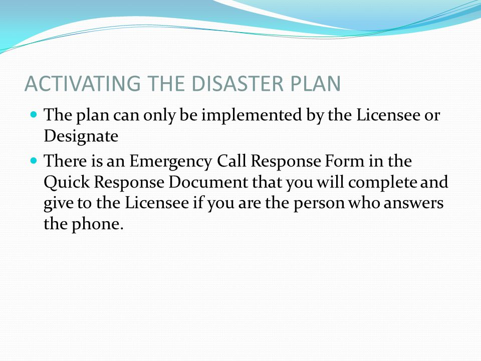 CODE GREEN Preparation for Evacuation: Shut off water, gas and electricity Know the location of the alternate site for your facility or the nearest Municipal Emergency Social Services Reception Centre Make arrangements for pets if applicable Follow the instructions of authorities Do not use the telephone except for life threatening emergencies
