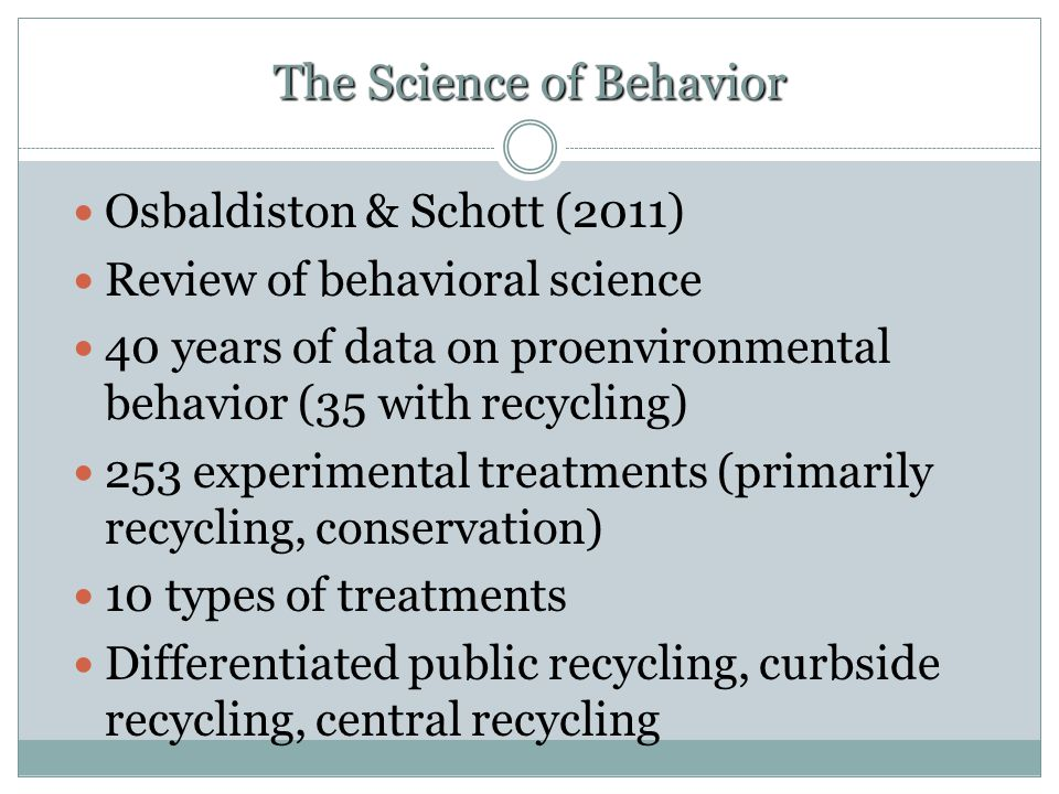 The Science of Behavior Osbaldiston & Schott (2011) Review of behavioral science 40 years of data on proenvironmental behavior (35 with recycling) 253