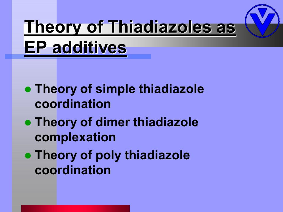 Theory of Thiadiazoles as EP additives Theory of simple thiadiazole coordination Theory of dimer thiadiazole complexation Theory of poly thiadiazole coordination
