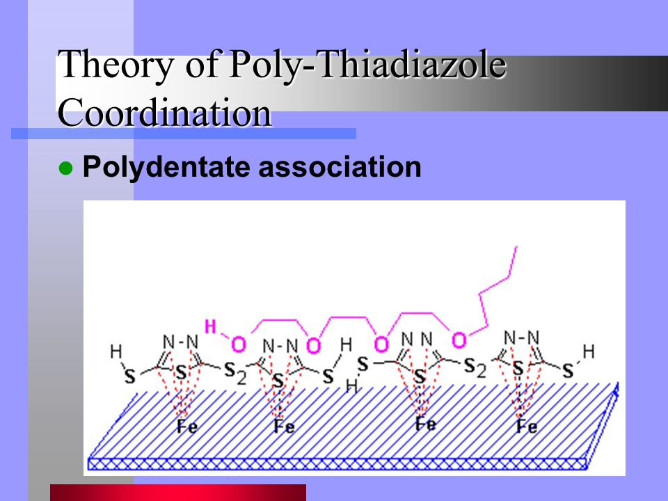 Theory of Poly-Thiadiazole Coordination Polydentate association