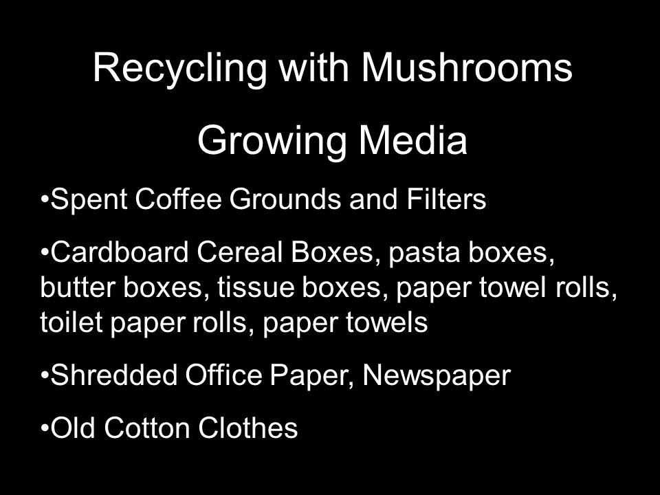Recycling with Mushrooms Growing Media Spent Coffee Grounds and Filters Cardboard Cereal Boxes, pasta boxes, butter boxes, tissue boxes, paper towel rolls, toilet paper rolls, paper towels Shredded Office Paper, Newspaper Old Cotton Clothes