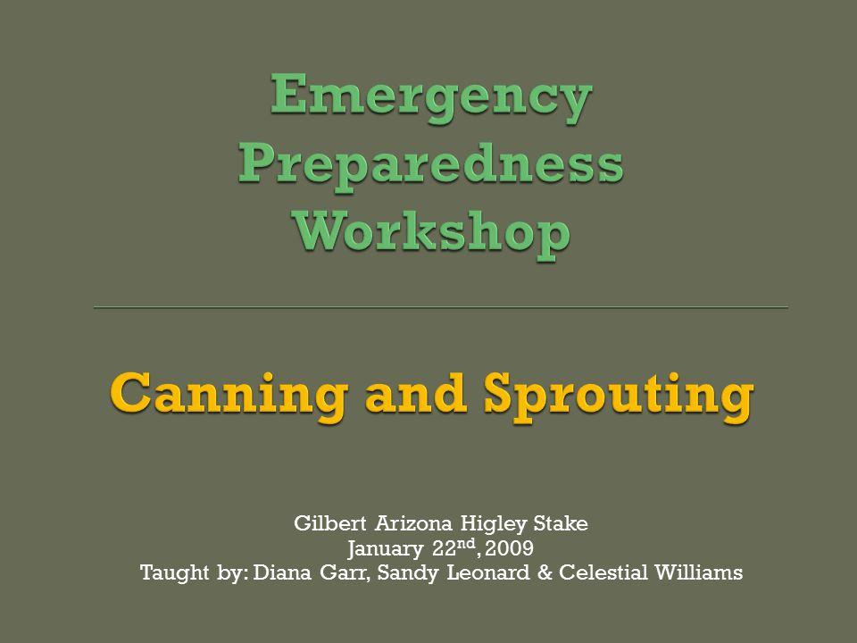 Gilbert Arizona Higley Stake January 22 nd, 2009 Taught by: Diana Garr, Sandy Leonard & Celestial Williams