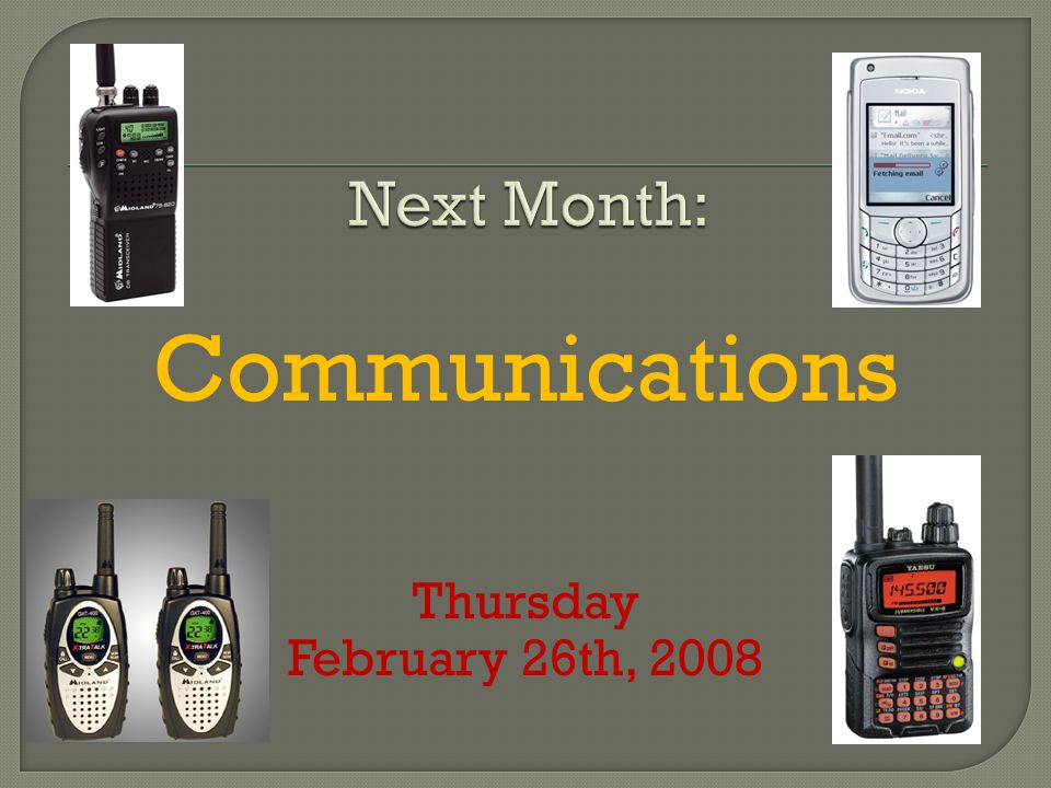 Communications Thursday February 26th, 2008