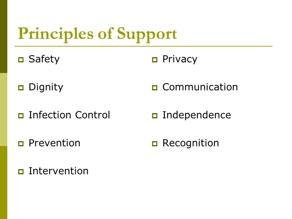 Principles of Support  Safety  Dignity  Infection Control  Prevention  Intervention  Privacy  Communication  Independence  Recognition