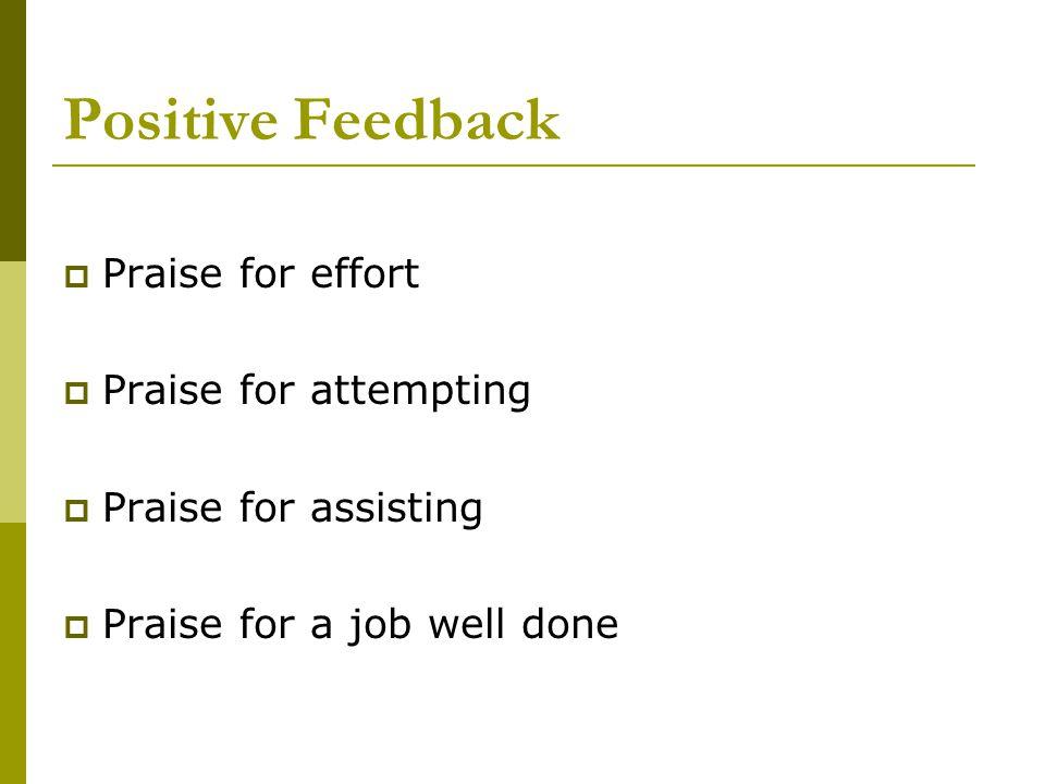 Positive Feedback  Praise for effort  Praise for attempting  Praise for assisting  Praise for a job well done