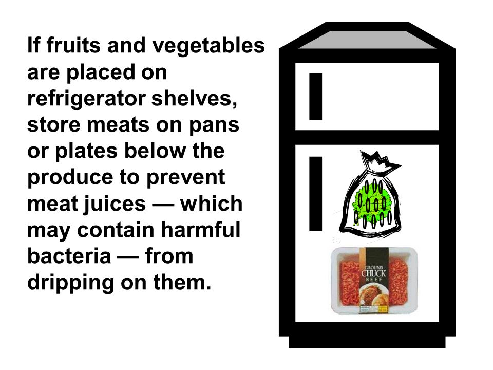 If fruits and vegetables are placed on refrigerator shelves, store meats on pans or plates below the produce to prevent meat juices — which may contai