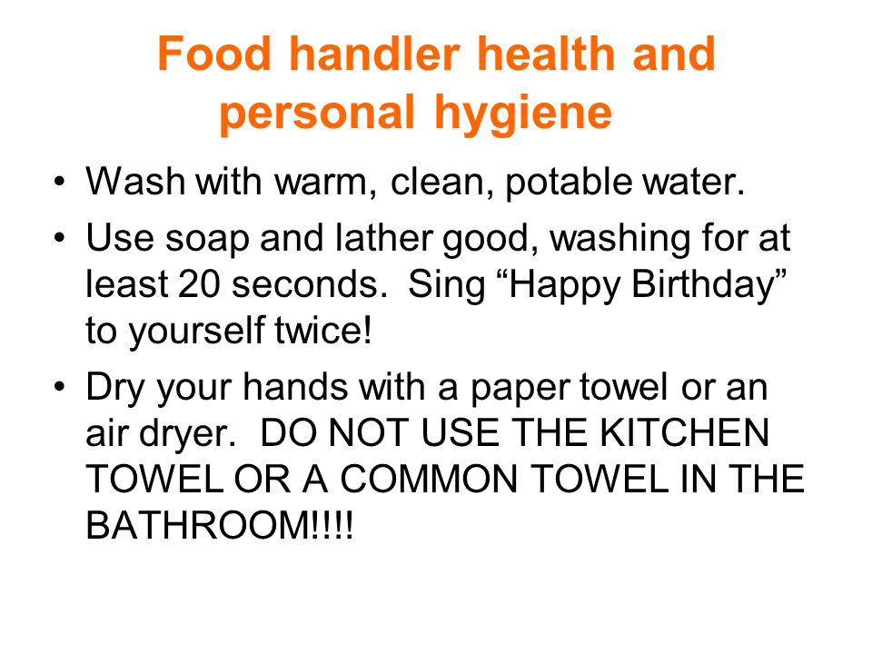 Food handler health and personal hygiene Several illnesses can be transmitted by food handlers through the food they prepare.