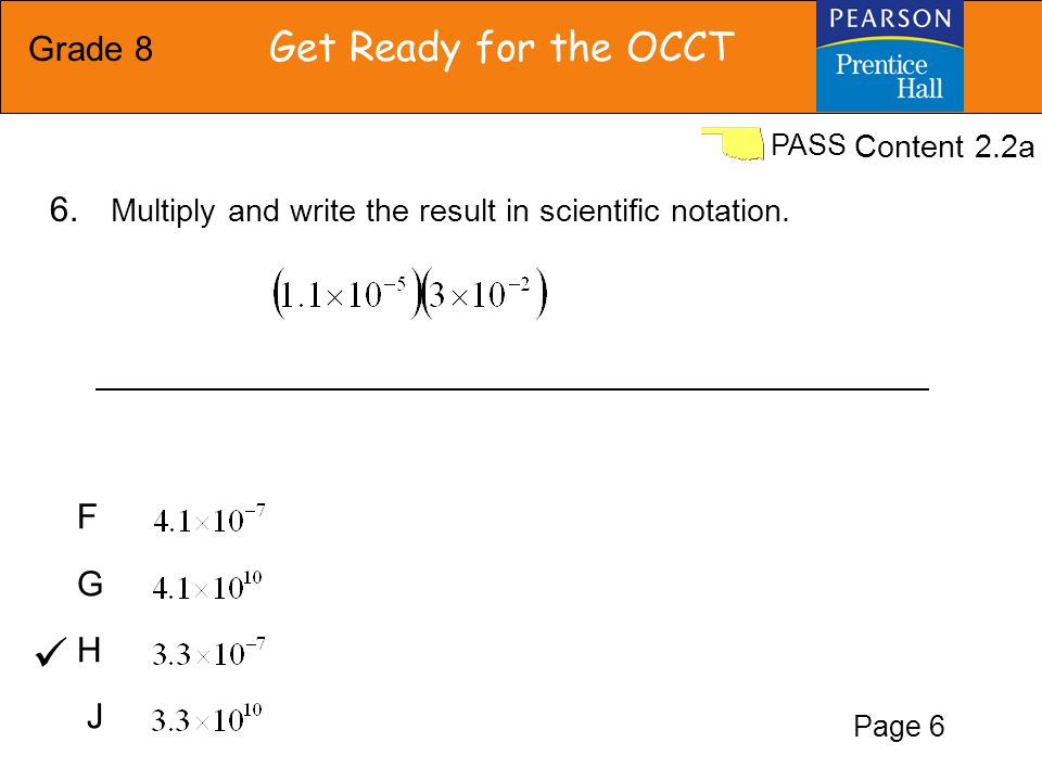 Grade 8 Get Ready for the OCCT PASS F G H J Content 2.2a 6.