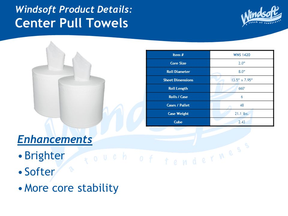 "Windsoft Product Details: Center Pull Towels Item #WNS 1420 Core Size2.0"" Roll Diameter8.0"" Sheet Dimensions13.5"" x 7.95"" Roll Length660' Rolls / Case"