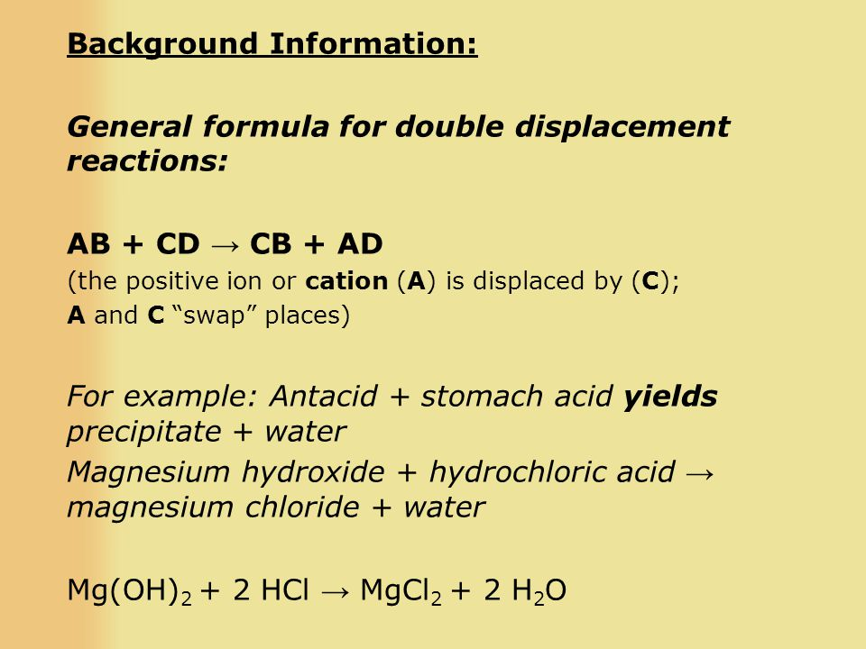 Background Information: General formula for double displacement reactions: AB + CD → CB + AD (the positive ion or cation (A) is displaced by (C); A and C swap places) For example: Antacid + stomach acid yields precipitate + water Magnesium hydroxide + hydrochloric acid → magnesium chloride + water Mg(OH) 2 + 2 HCl → MgCl 2 + 2 H 2 O