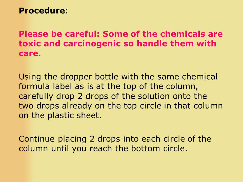 Procedure: Please be careful: Some of the chemicals are toxic and carcinogenic so handle them with care.