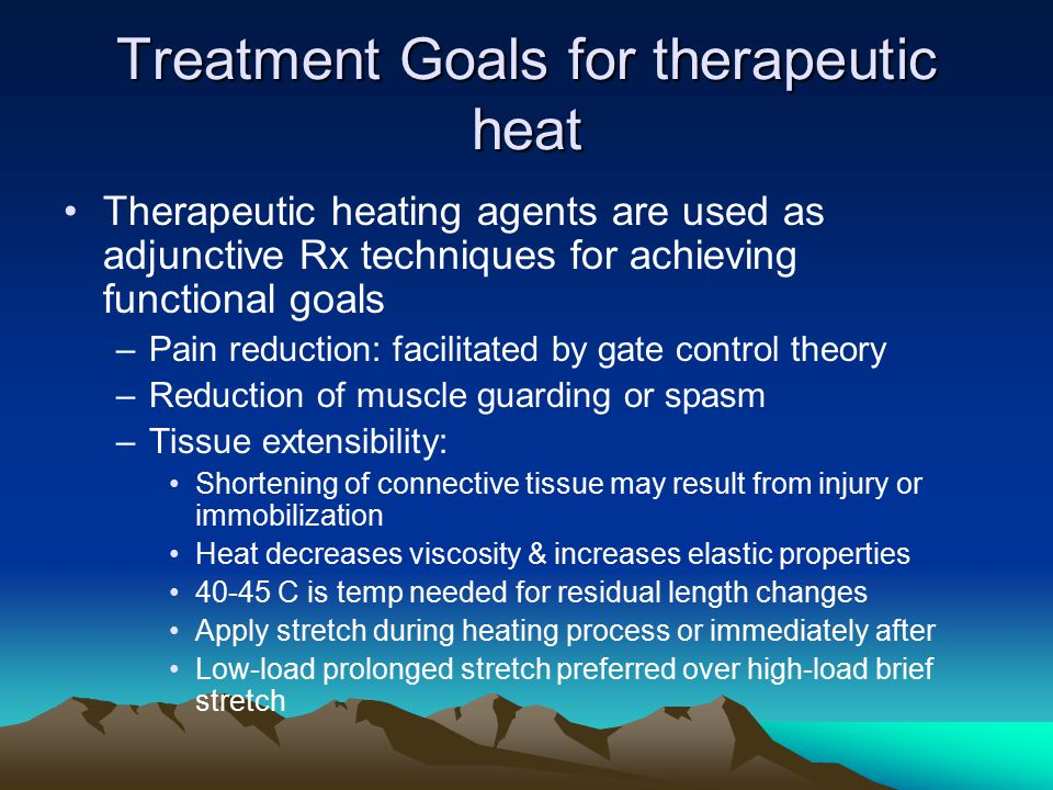 Fluidotherapy Heat by convection; extremely small solid particles are heated & suspended by circulating air, thus producing effect similar to circulating warm liquid Duration: 20 min Equipment: –Machine stands 3 ft high & contains heating element, air compressor, tiny silicon or corn cob particles, timer, temp gauge, & mesh sleeve