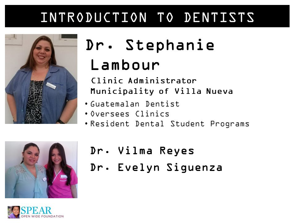 INTRODUCTION TO STAFF Vivian Gonzalez Main Dental Assistant Vivian is the person you will interact with most.
