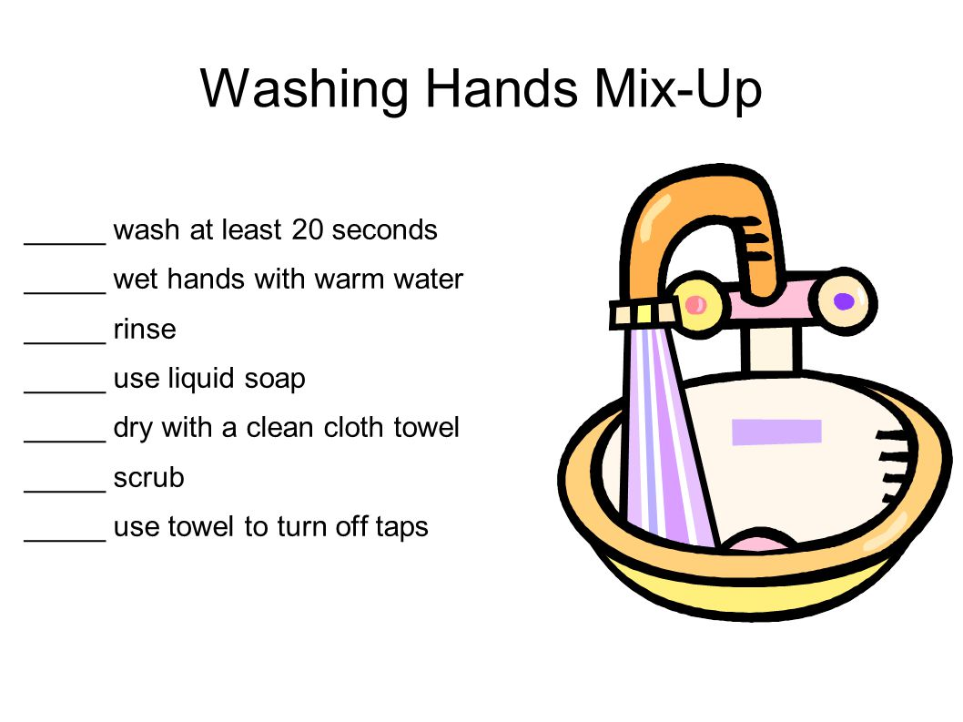 Washing Hands Mix-Up _____ wash at least 20 seconds _____ wet hands with warm water _____ rinse _____ use liquid soap _____ dry with a clean cloth towel _____ scrub _____ use towel to turn off taps