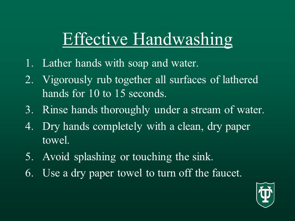 Effective Handwashing 1.Lather hands with soap and water.