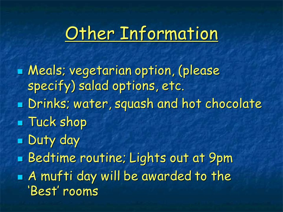 Other Information Meals; vegetarian option, (please specify) salad options, etc.