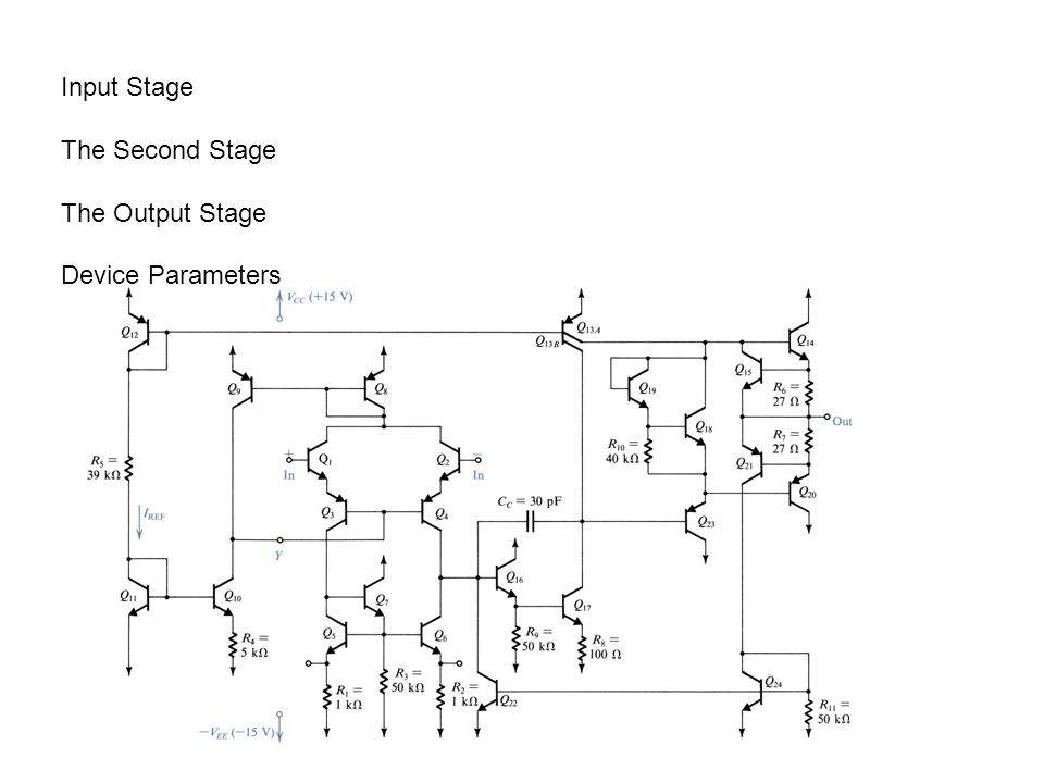 Fig. 10.3 The dc analysis of the 741 input stage. The DC Analysis of the 741