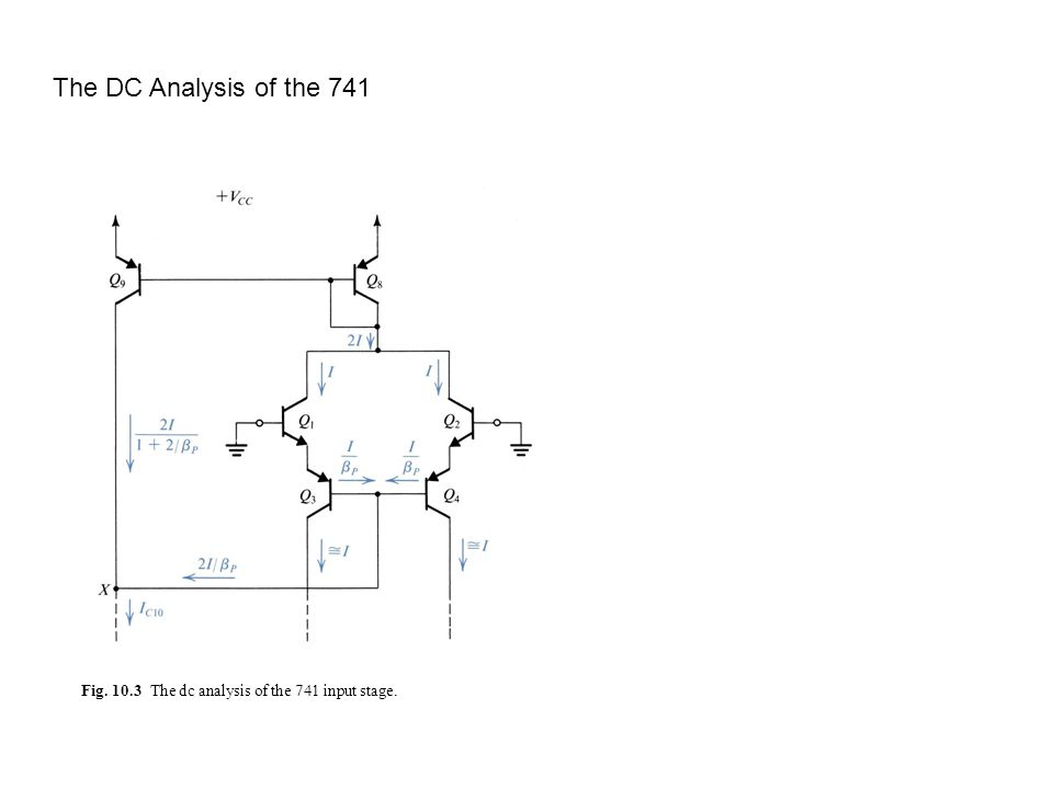 Fig. 10.4 The dc analysis of the 741 input stage, continued