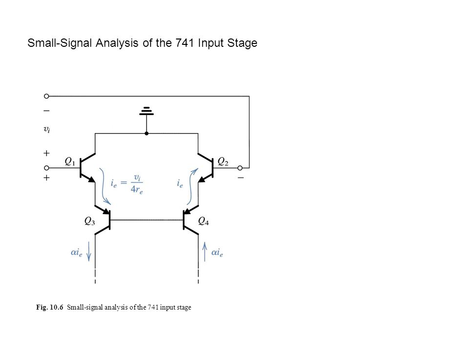 Fig. 10.6 Small-signal analysis of the 741 input stage Small-Signal Analysis of the 741 Input Stage