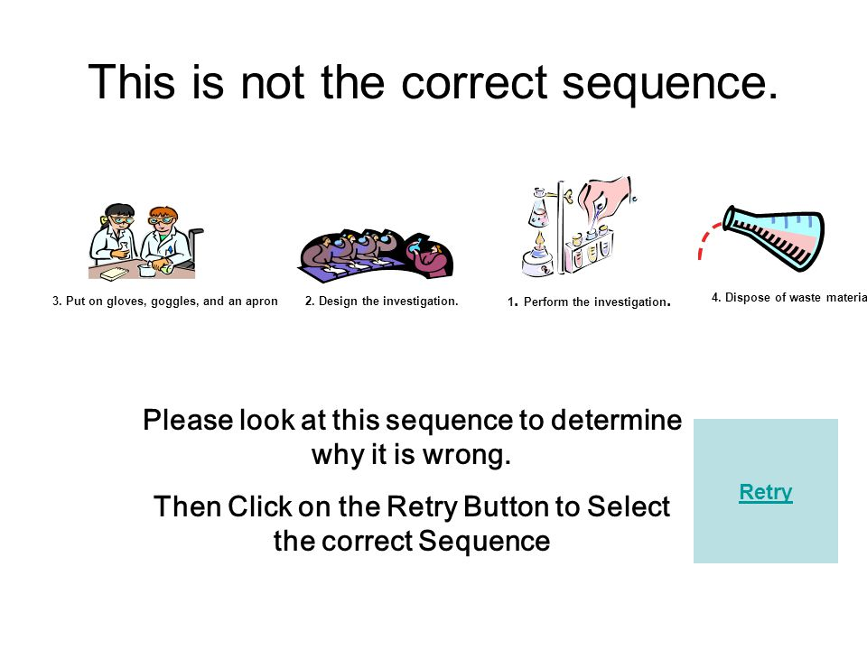 Click the Letter of the Correct Sequence 1. Perform the investigation.