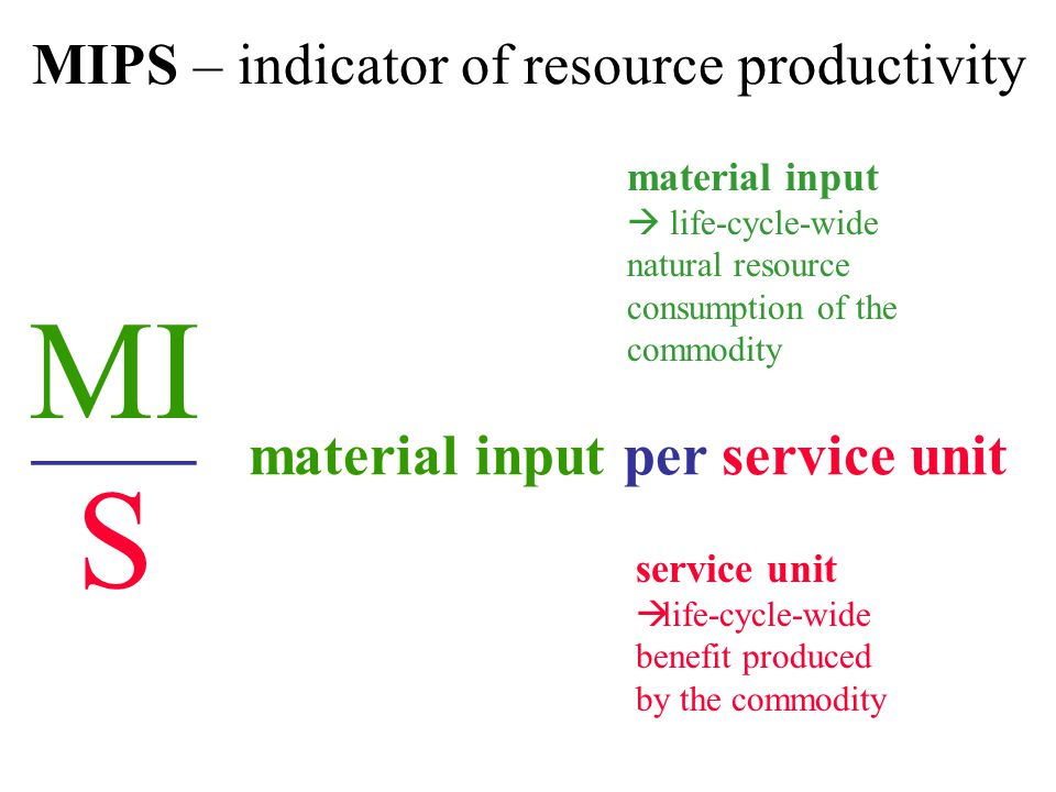 MIPS – indicator of resource productivity material input  life-cycle-wide natural resource consumption of the commodity service unit  life-cycle-wide benefit produced by the commodity MI _____ S material input per service unit