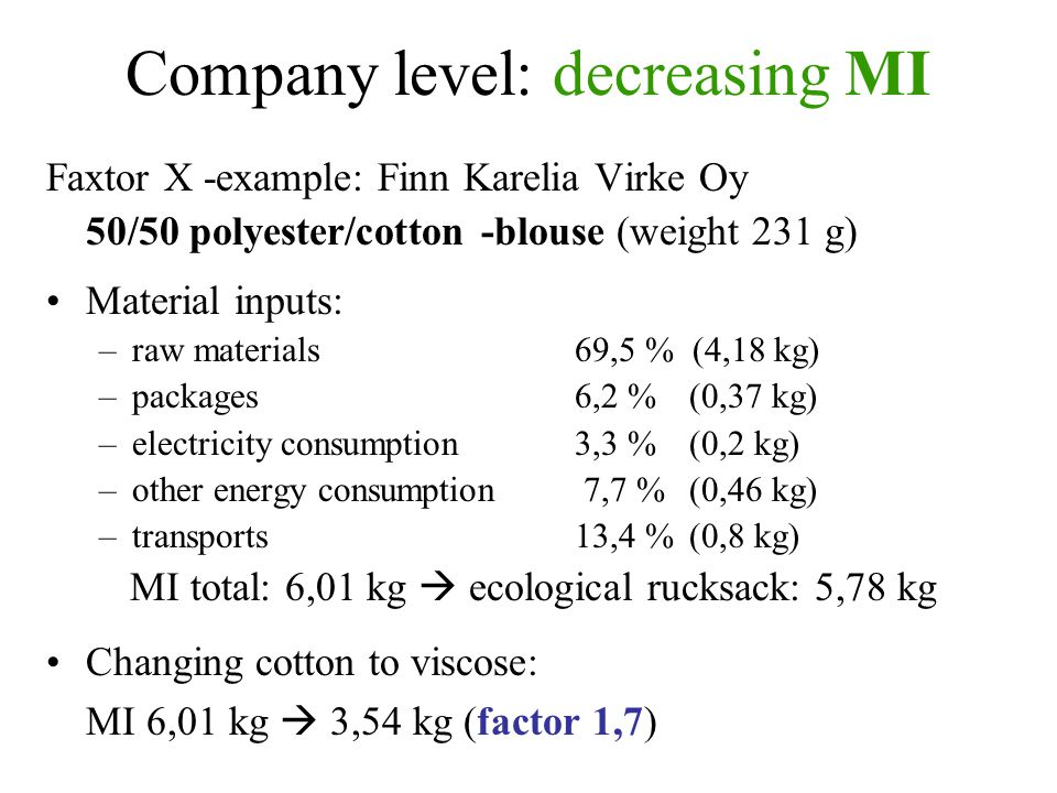 Company level: decreasing MI Faxtor X -example: Finn Karelia Virke Oy 50/50 polyester/cotton -blouse (weight 231 g) Material inputs: –raw materials 69,5 % (4,18 kg) –packages 6,2 % (0,37 kg) –electricity consumption3,3 % (0,2 kg) –other energy consumption 7,7 % (0,46 kg) –transports13,4 % (0,8 kg) MI total: 6,01 kg  ecological rucksack: 5,78 kg Changing cotton to viscose: MI 6,01 kg  3,54 kg (factor 1,7)
