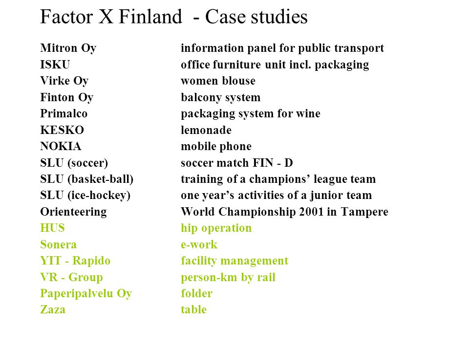 Factor X Finland - Case studies Mitron Oyinformation panel for public transport ISKU office furniture unit incl.