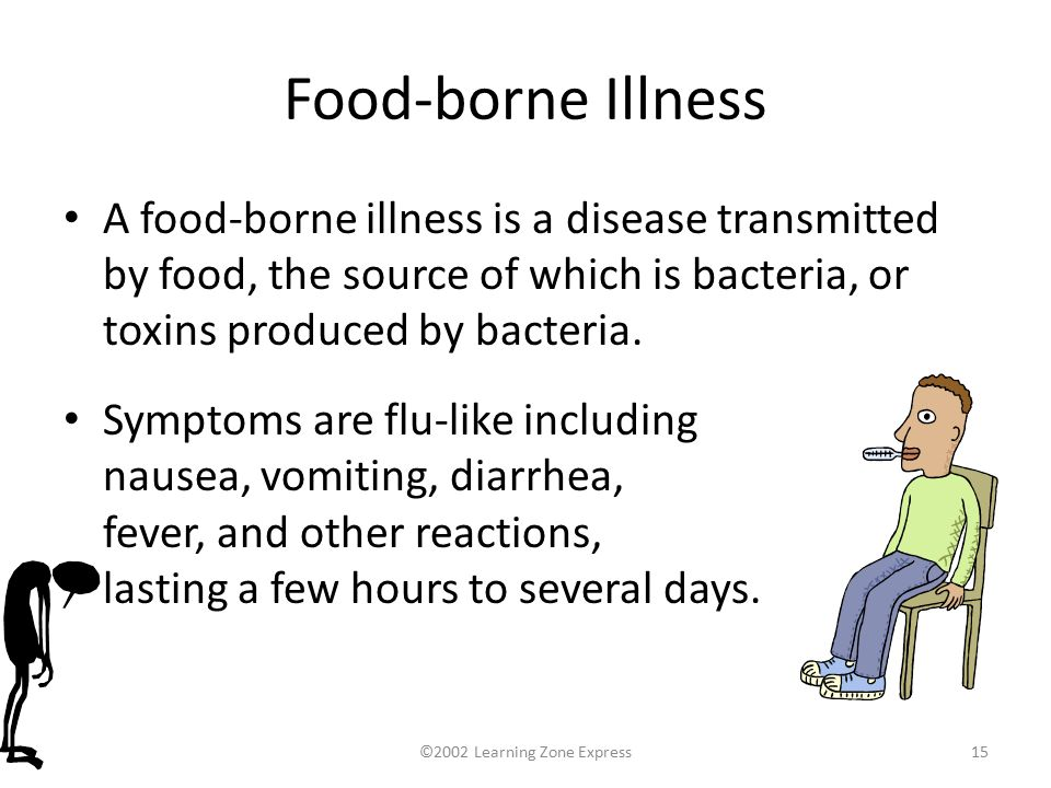 ©2002 Learning Zone Express15 Food-borne Illness A food-borne illness is a disease transmitted by food, the source of which is bacteria, or toxins produced by bacteria.