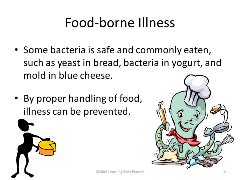 ©2002 Learning Zone Express16 Food-borne Illness Some bacteria is safe and commonly eaten, such as yeast in bread, bacteria in yogurt, and mold in blue cheese.