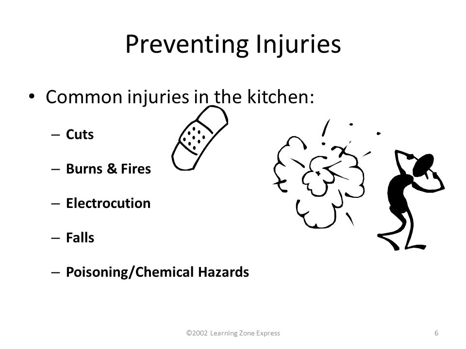 ©2002 Learning Zone Express6 Preventing Injuries Common injuries in the kitchen: – Cuts – Burns & Fires – Electrocution – Falls – Poisoning/Chemical Hazards