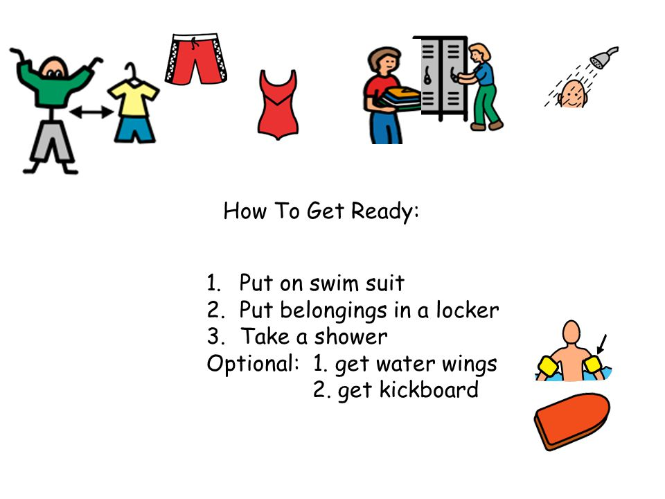 How To Get Ready: 1.Put on swim suit 2.Put belongings in a locker 3.Take a shower Optional: 1.