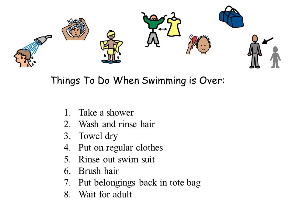 Things To Do When Swimming is Over: 1.Take a shower 2.Wash and rinse hair 3.Towel dry 4.Put on regular clothes 5.Rinse out swim suit 6.Brush hair 7.Put belongings back in tote bag 8.Wait for adult