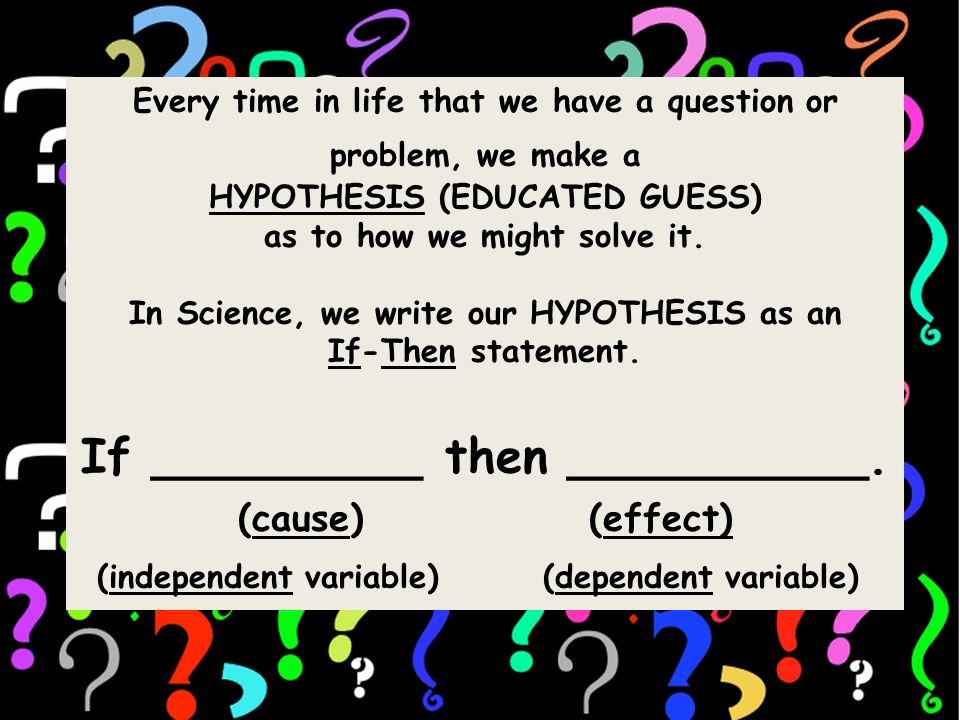 Every time in life that we have a question or problem, we make a HYPOTHESIS (EDUCATED GUESS) as to how we might solve it.