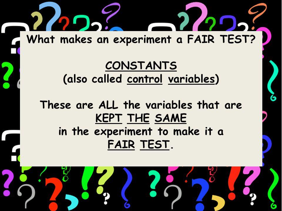 What makes an experiment a FAIR TEST.