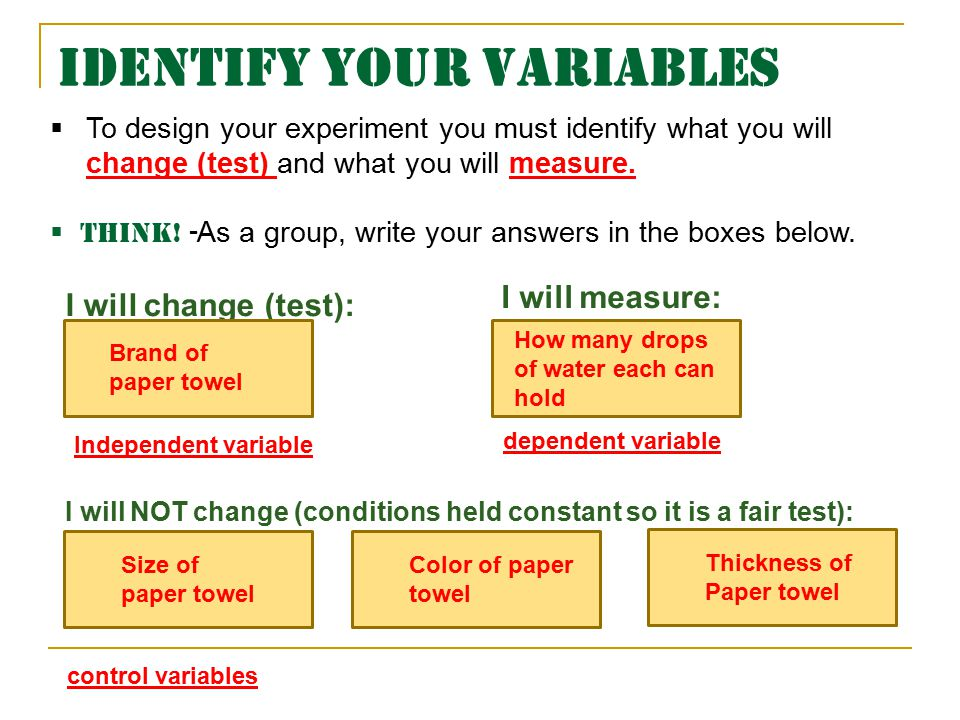 Identify your Variables I will change (test): I will measure:  To design your experiment you must identify what you will change (test) and what you will measure.