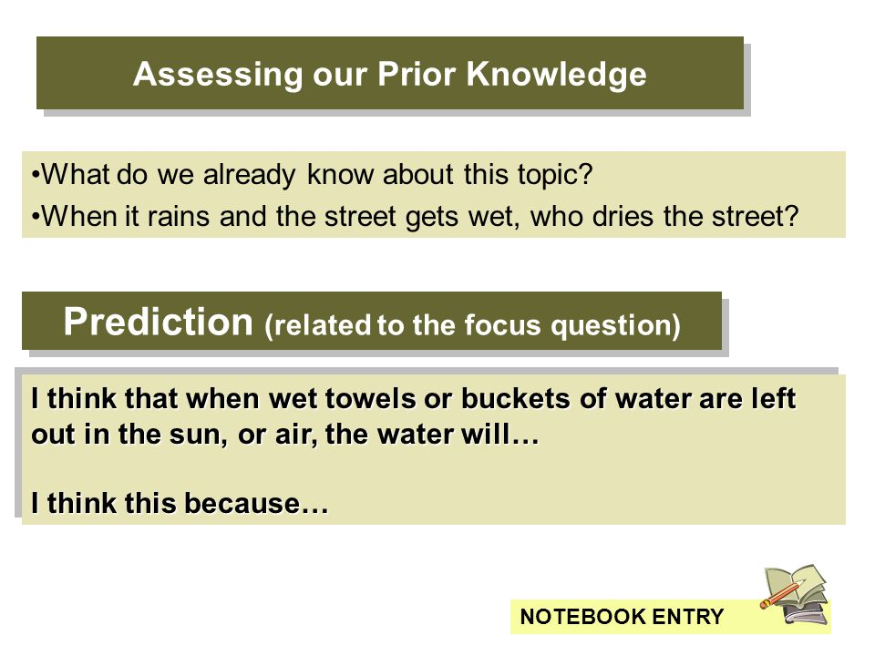 Prediction (related to the focus question) I think that when wet towels or buckets of water are left out in the sun, or air, the water will… I think this because… I think that when wet towels or buckets of water are left out in the sun, or air, the water will… I think this because… NOTEBOOK ENTRY Assessing our Prior Knowledge What do we already know about this topic.