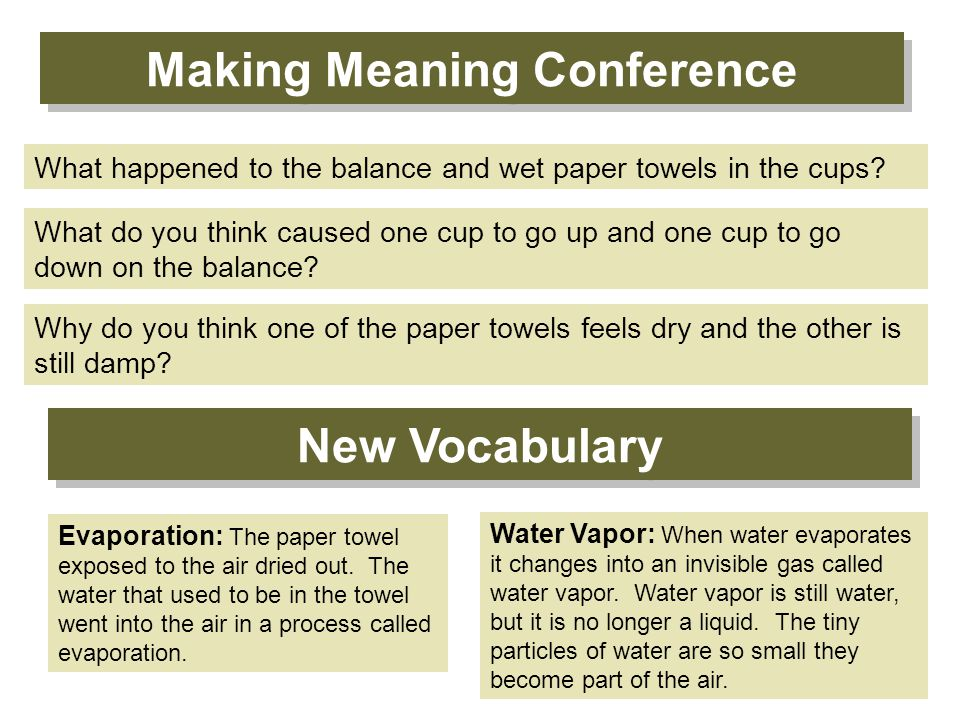 Making Meaning Conference Why do you think one of the paper towels feels dry and the other is still damp.