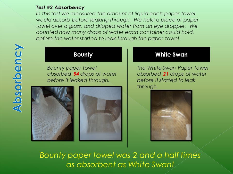 White Swan Bounty Test #2 Absorbency In this test we measured the amount of liquid each paper towel would absorb before leaking through.